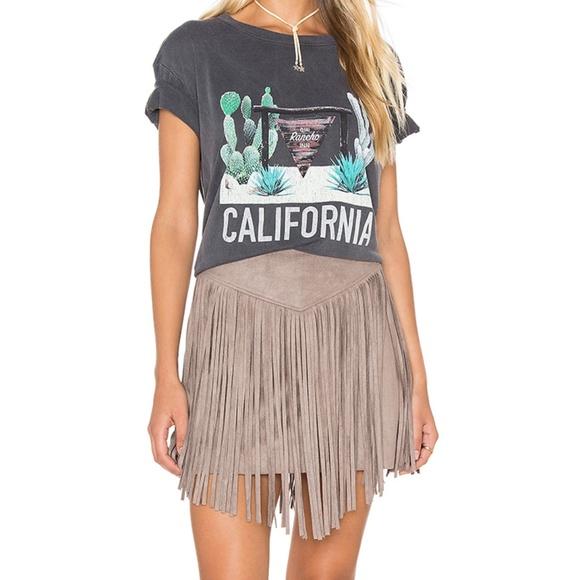 5ccec57d6d Show Me Your Mumu Rancho Fringe Faux Suede Skirt. M 5c0c816faaa5b886b5d62ead